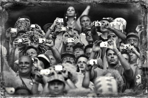 Brazilian fans photographing during departure of Germany's World Cup 2006 Dortmund, Germany