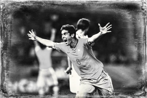 Kaka, player of the Brazilian national football team celebrates goal in the match against Croatia, during the World Cup in Germany 2006 Berlin, Germany