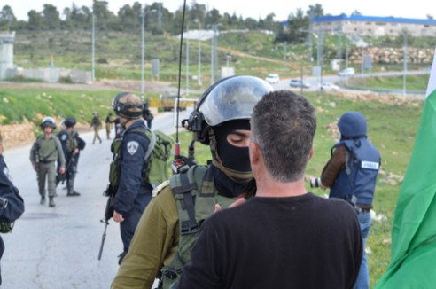 "Nabi-Saleh Argument: A heated argument erupted at the regular protest in Nabi-Saleh, West Bank. The Israeli soldier demanded the protester leave the area and became aggressive when told ""he would not leave""."