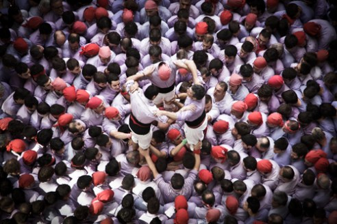 Colla Jove Xiquets de Tarragona prepare the base of their upcoming human tower during the XXV Concurs de Castells in Tarragona