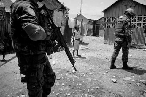 A squad of Brazilian UN Peacekeepers patrols Cité Soleil