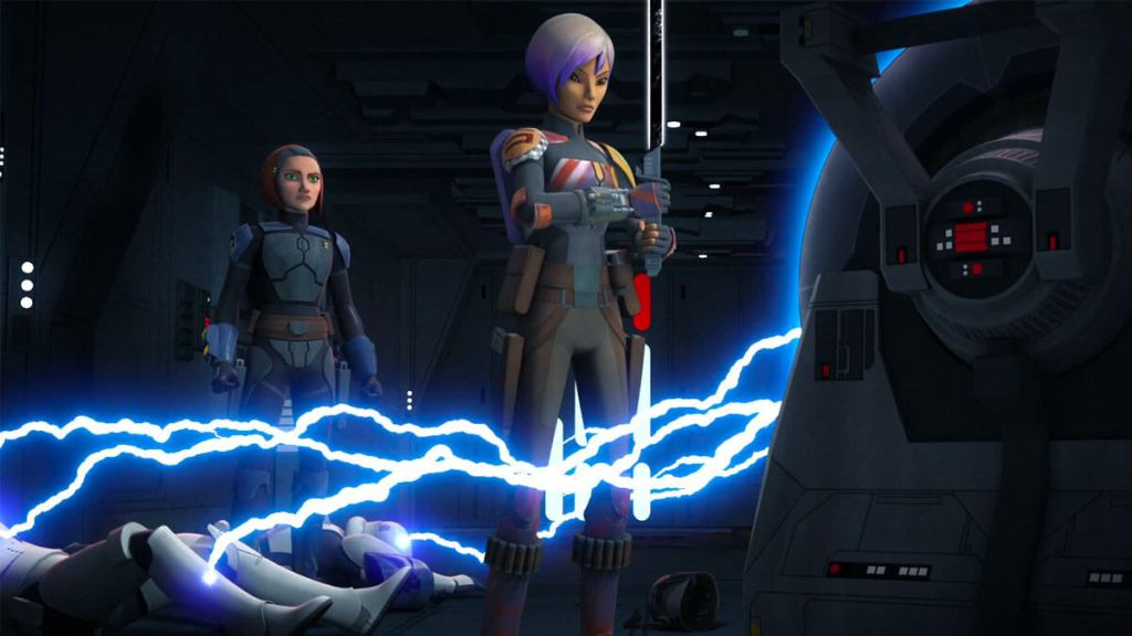 Sabine shocks stormtroopers while holding the Darksaber