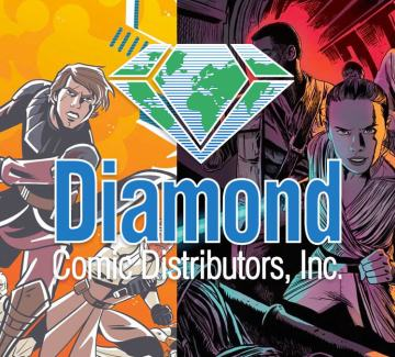 Diamond Comics Distributors logo over comic book covers
