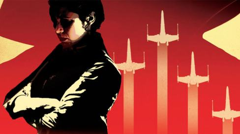 leia organa on a red background with her arms folded.
