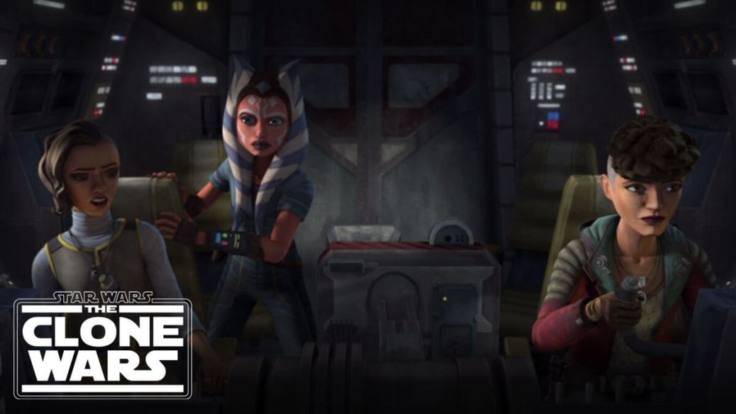 Ahsoka and the Martez sisters in the cockpit of the Silver Angel