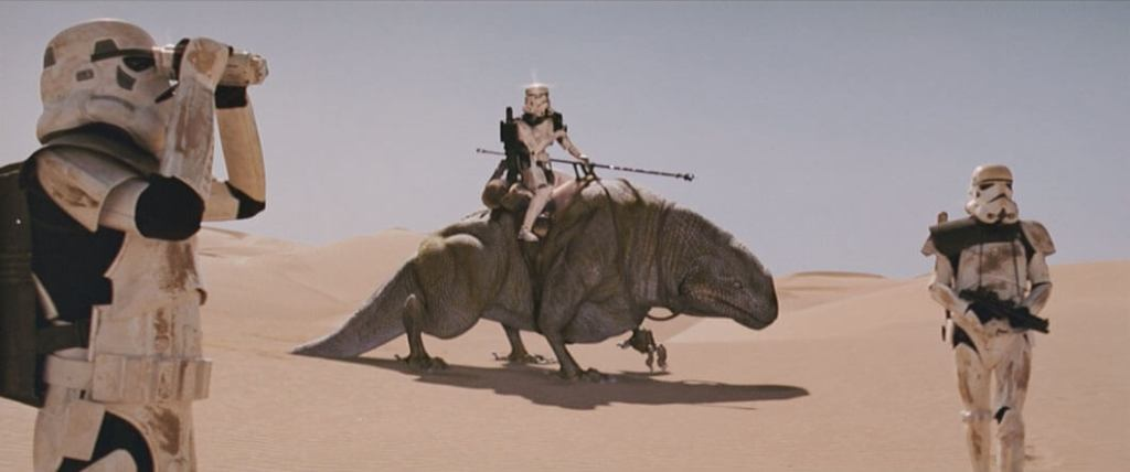 A Stormtrooper riding a dewback in A New Hope
