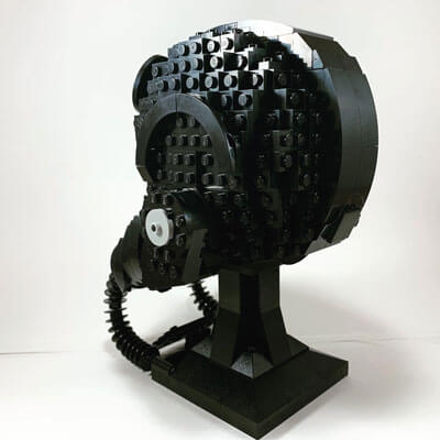 LEGO TIE Fighter Pilot Helmet from the back and & left