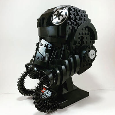 LEGO TIE Fighter Pilot Helmet from the front & right