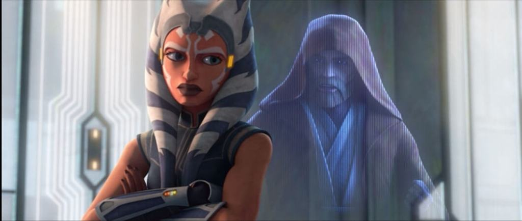 Ahsoka and Obi-Wan speak privately in Clone Wars Season 7 Episode 10