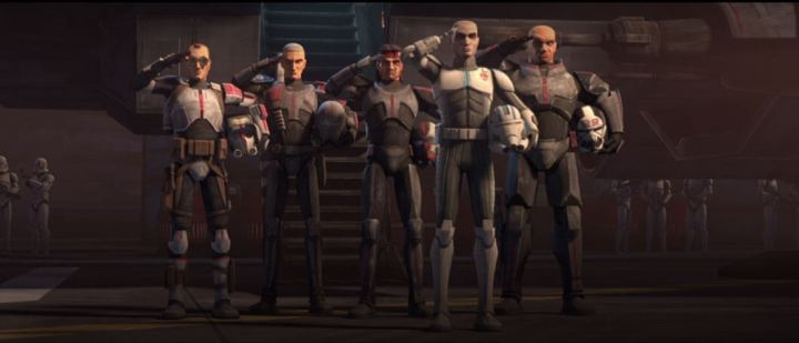 Rescued clone Echo joins the Bad Batch in saluting Captain Rex