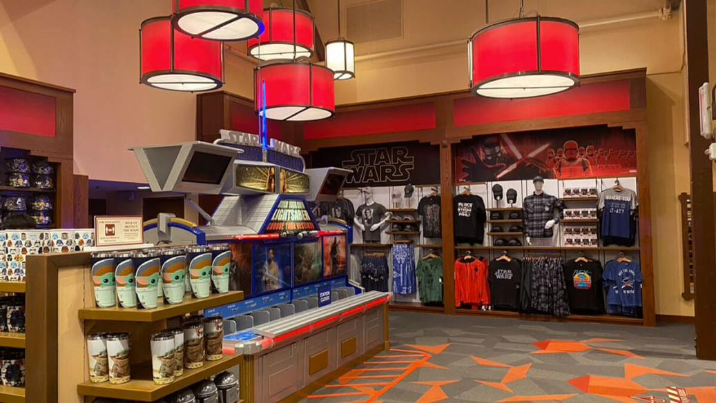 Inside The Disney Springs Star Wars store location, the Star Wars Trading Post