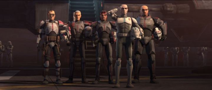 Echo and The Bad Batch salute Captain Rex