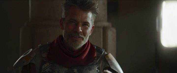 Timothy Olyphant as wearing Boba Fett's armor in The Mandalorian Season 2 Episode 1