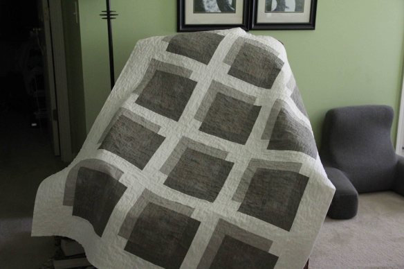 "Quilting is finished. Pattern by Weeks Ringle and Bill Kerr from their new book, ""Transparency Quilts""."