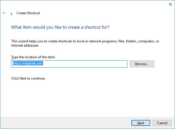Create Shortcut - type location