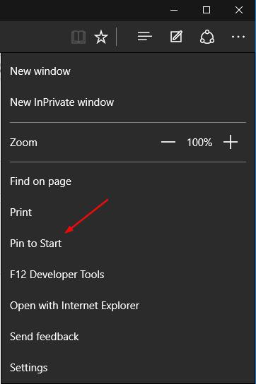 Edge - menu to pin to start