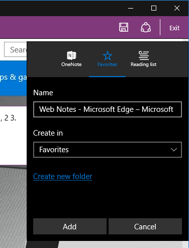 Edge - save notes