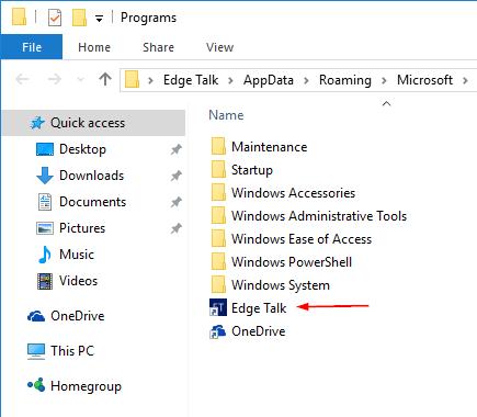 Start Menu Program folder with shortcut in it
