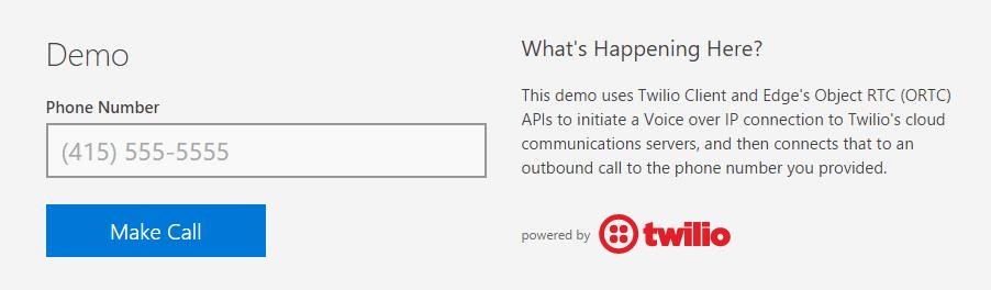 Edge - ORTC phone call demo