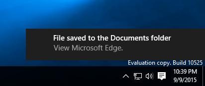 Edge - Print to PDF notification