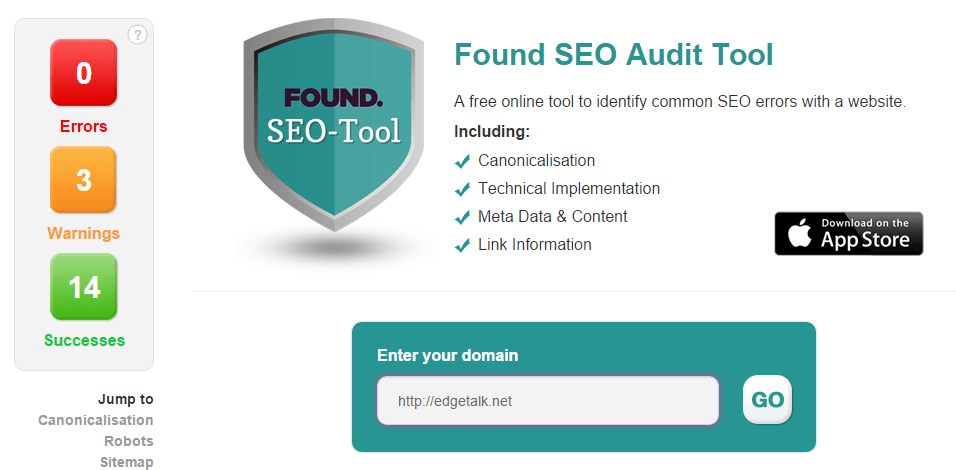 FOUND SEO Audit Tool - Free Online Canonicalisation & Link Checker - 2015-10-07 23_03_12