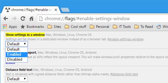 Chrome - flag - show settings in a window