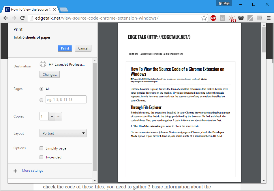 Chrome - Print page without Simplify page option checked