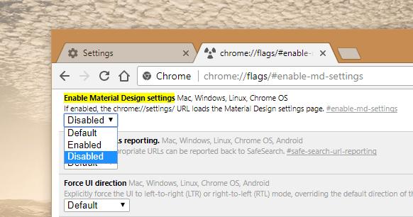 Chrome Urls Settings