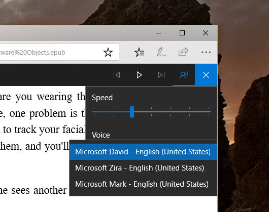 Microsoft Edge - Read Aloud - Voice Settings