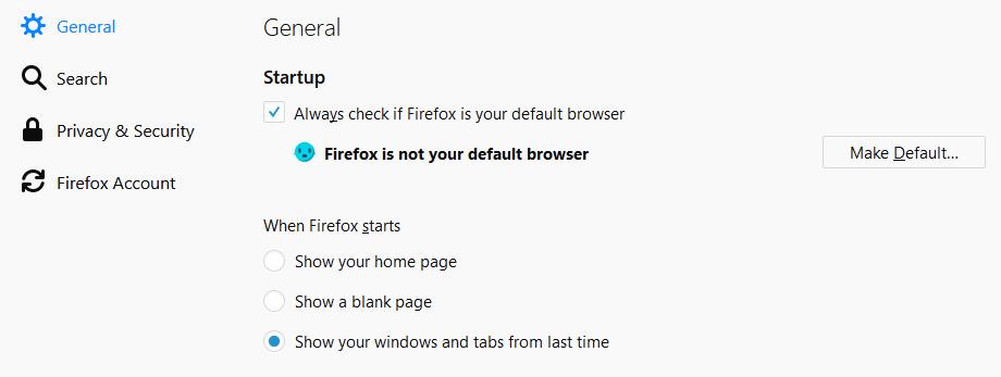 Firefox - Options