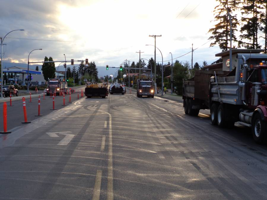 Paving three lanes at one time in Comox