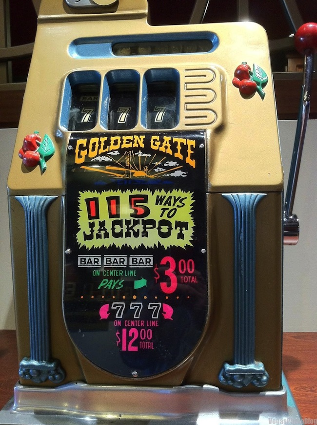 Vintage Slot Machines At Golden Gate Casino Las Vegas