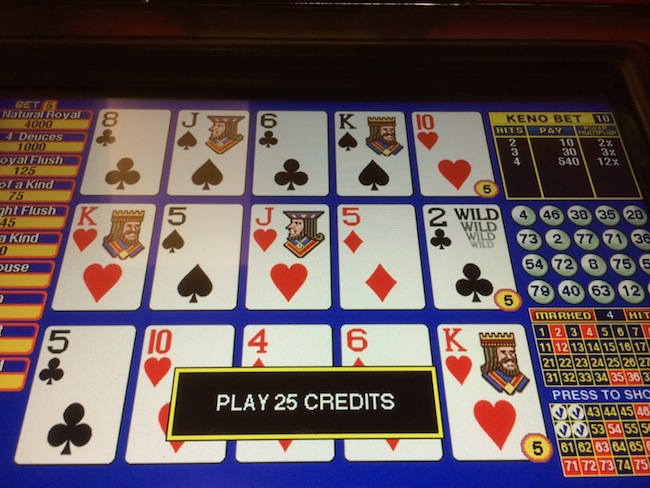 Video Poker with Keno Multiplier Bonus
