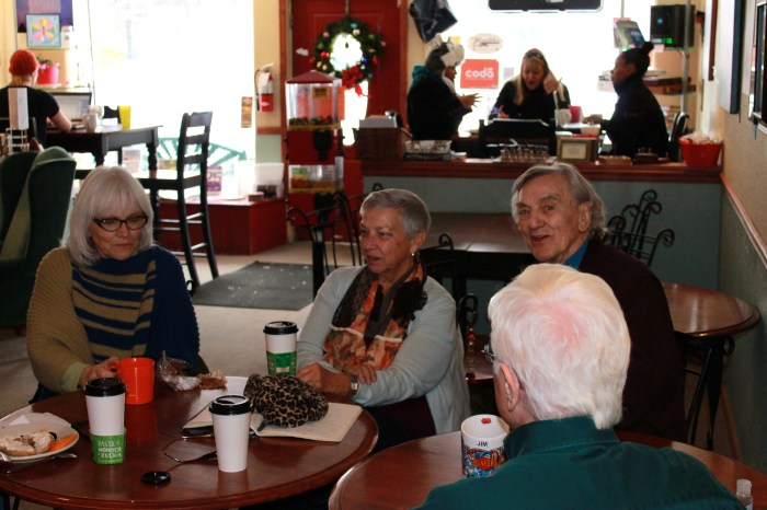 Mayor Bonnie McNulty (center) conversing with Edgewater residents at the latest Coffee and Conversations