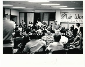 John Witeck addresses Ethnic Studies students at Ksimuki Library meeting 2607-8A 1972?