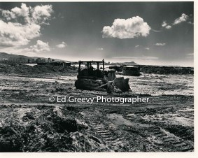 Dredging for the new Mokauea Island fishpond, Diamond Head in back ground. 1979