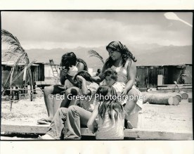Kids on their home island, Mokauea. 2914-5-22A 8-26-75