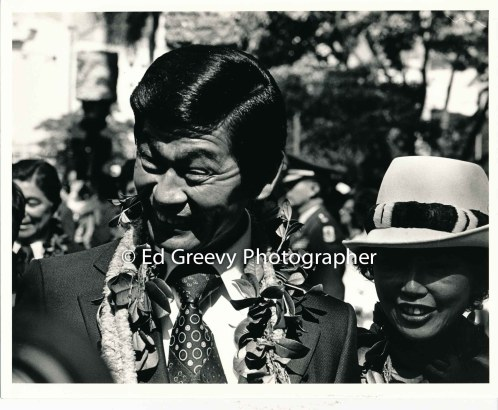 Governor George Arijoshi with wife, Jean at 1974 Governor's inauguration in 1974.. 2779