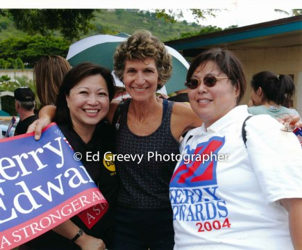 Judy Sobin, center, with supporters at John Kerry rally. _
