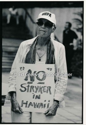 Marion Kelly at anti Stryker protest. 9124-5-33 C2005