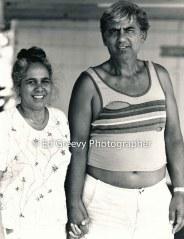 Moloka`i activist, Judy Napoleon, with her husband on Moloka`i. 6065-2 3-29-87
