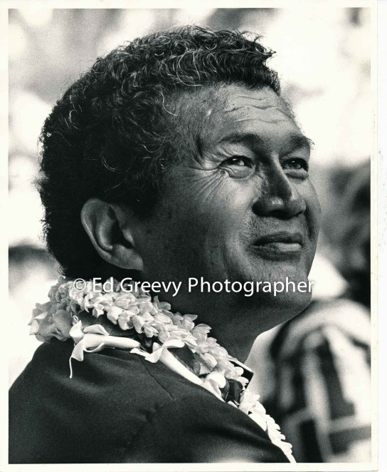 Reverend Abraham Akaka at Ad Hoc Rally, Waikiki Shell. 2405 1971