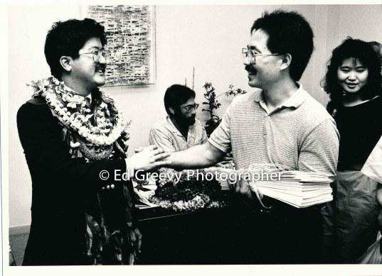 Roland Kotani, left, with artist Wayne Muromoto. Opening day of Leg. 7004 1-89