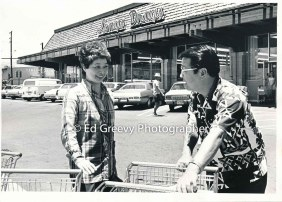 State House Representative Herb Segawa in Hilo with supporter. 2698 C1972