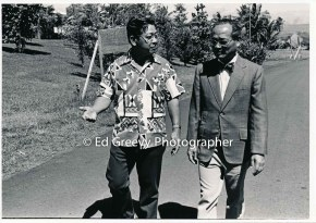 State House Representative Herb Segawa, left, with Hilo politician. 2698 C1972