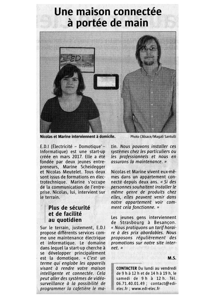 Parution journal l'Alsace