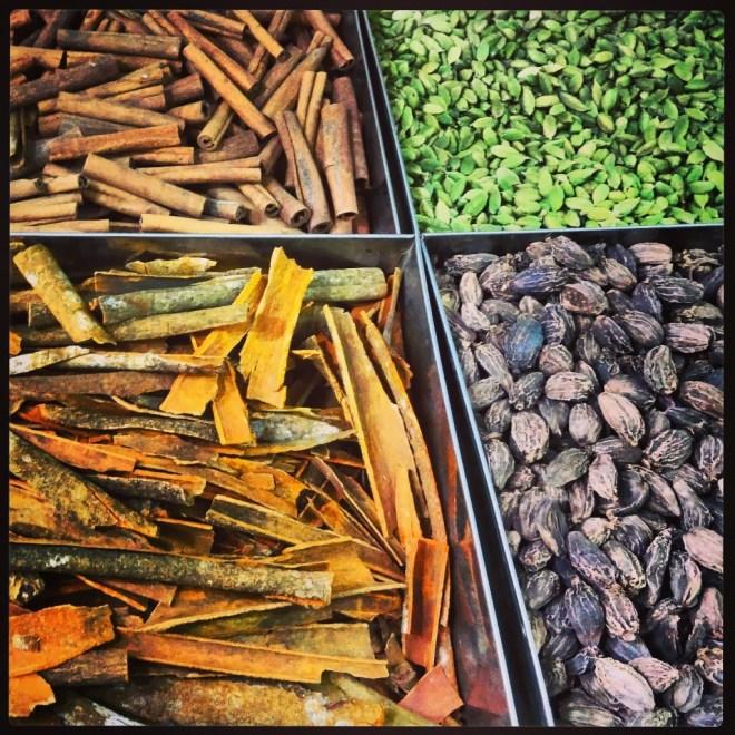 Cinnamon, black and green cardamom