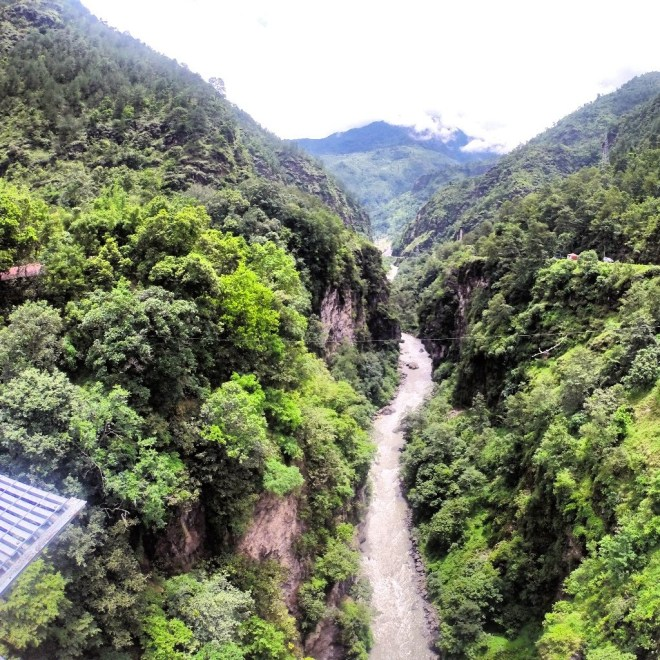 The view before jumping over the Bhote Khosi River