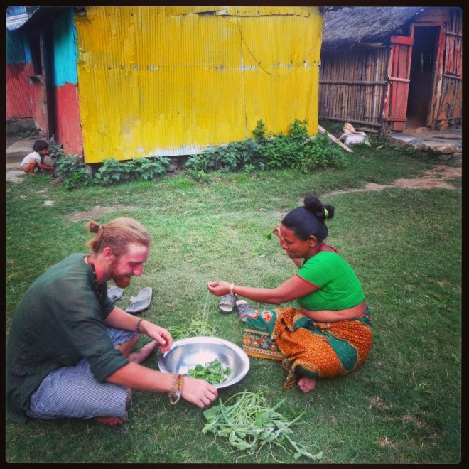 Cleaning greens for Dal Baht