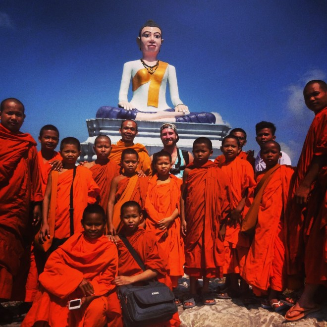 With the monks at the Buddha